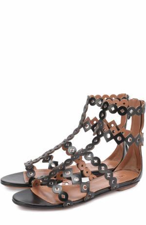 Кожаные сандалии с люверсами Alaia. Цвет: черный
