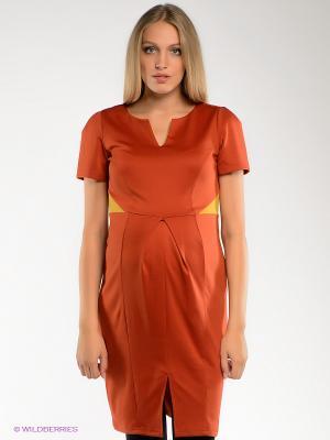 Платье для беременных ФЭСТ. Цвет: терракотовый, горчичный