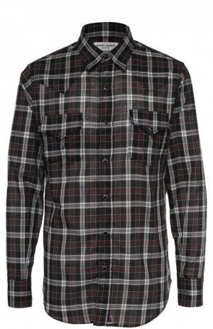 Хлопковая рубашка в клетку на кнопках Saint Laurent. Цвет: черный