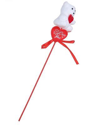 Сувенир (Мишка на палочке) Happy Charms Family. Цвет: красный, белый