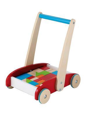 Тележка с кубиками ELC. Цвет: красный, бежевый