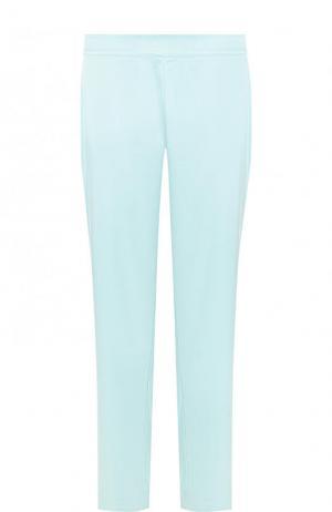 Однотонные укороченные брюки прямого кроя St. John. Цвет: голубой