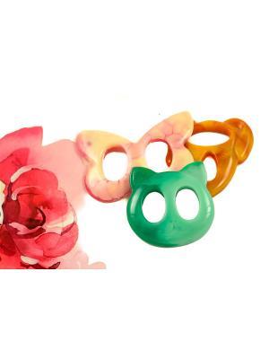 Пряжка Волшебная пуговица для шейного платка madam Пряжкина. Цвет: зеленый, светло-коралловый, светло-коричневый