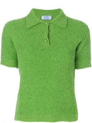 Пушистая футболка-поло Prada. Цвет: зелёный