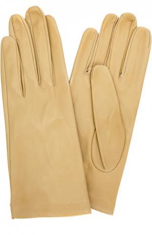 Кожаные перчатки с подкладкой из шелка Sermoneta Gloves. Цвет: светло-бежевый