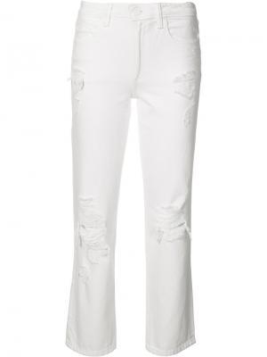 Рваные прямые джинсы Alexander Wang. Цвет: белый