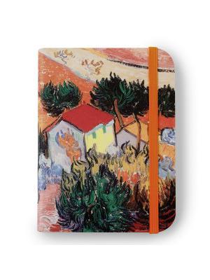 Флорентийская записная книжка. Пейзаж с домом и пахарем Власта. Цвет: оранжевый, зеленый, красный