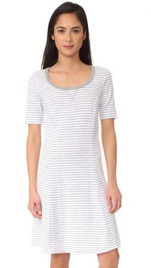 Платье в полоску с короткими рукавами Three Dots. Цвет: белый/серый