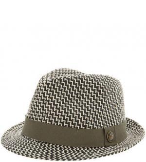 Плетеная шляпа с широкой лентой цвета хаки Goorin Bros.. Цвет: серый