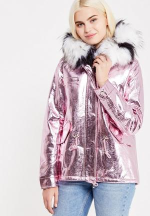 Куртка кожаная Regular. Цвет: розовый