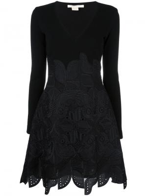 Расклешенное платье с этническим узором Antonio Berardi. Цвет: чёрный