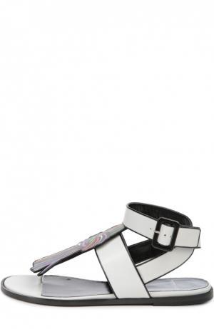 Кожаные сандалии с аппликацией Pierre Hardy. Цвет: белый
