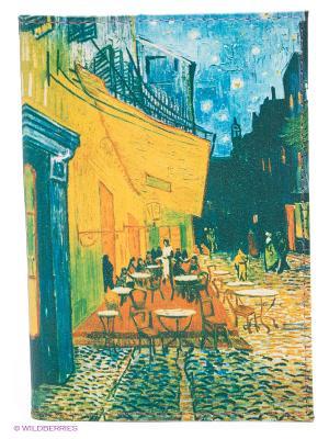 Обложка для паспорта Ван Гог Терраса кафе ночью Mitya Veselkov. Цвет: голубой, желтый, зеленый
