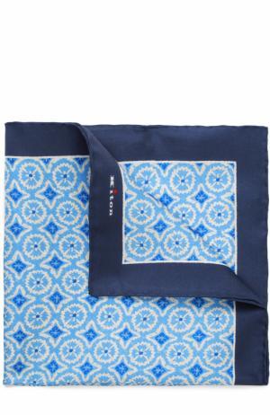 Шелковый платок с узором Kiton. Цвет: светло-синий