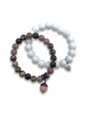 Браслет Venus из родонита + подарок (браслет агата) Магазин браслетов. Цвет: темно-бордовый, бордовый, розовый