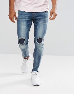BoohooMAN Выбеленные джинсы скинни с рваной отделкой. Цвет: синий