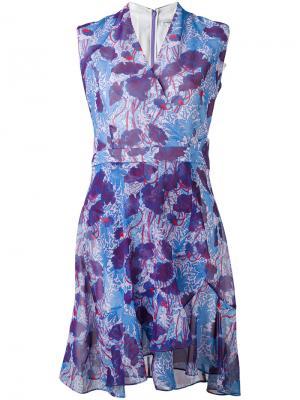Платье с запахом и рисунком Carven. Цвет: розовый и фиолетовый