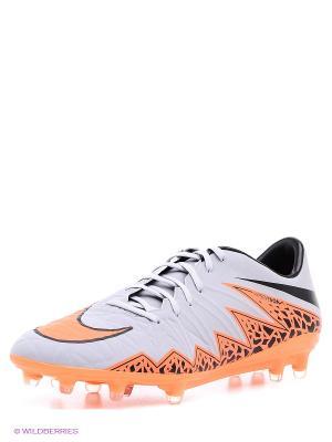 Бутсы HYPERVENOM PHATAL II FG Nike. Цвет: серый, оранжевый