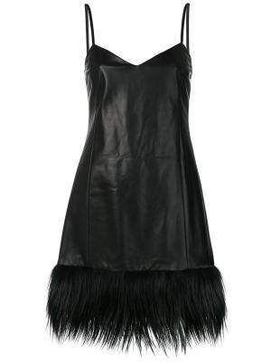 Кожаное платье на тонких лямках Drome. Цвет: чёрный