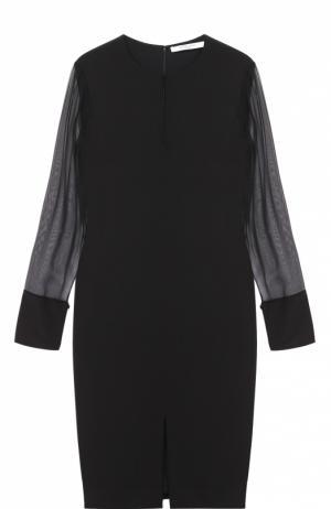 Платье прямого кроя с вырезом-капелька и прозрачными рукавами Givenchy. Цвет: черный
