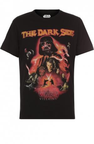 Хлопковая футболка с принтом Star Wars Elevenparis. Цвет: черный