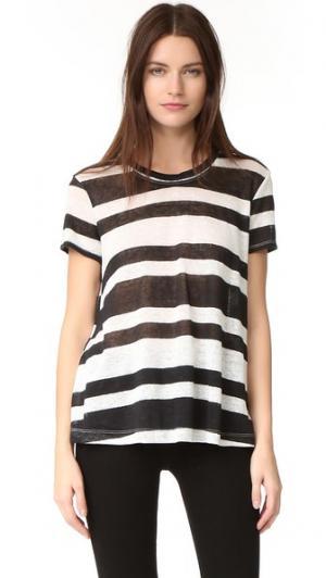 Льняная футболка Baby с отстрочкой Wilt. Цвет: черный/белый