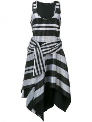 Асимметричное платье в полоску Proenza Schouler. Цвет: чёрный