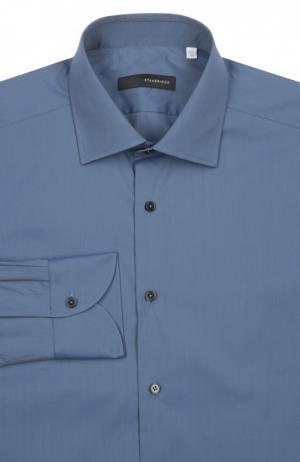 Сорочка с воротником кент прямого фасона Stanbridge. Цвет: синий