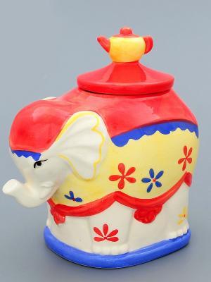 Банка для чая и кофе Слон Elan Gallery. Цвет: синий, красный, желтый, белый
