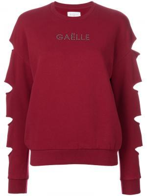 Джемпер с вырезами и длинными рукавами Gaelle Bonheur. Цвет: красный