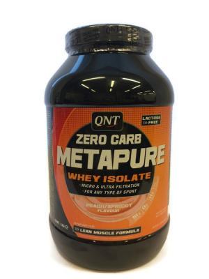 Изолят METAPURE ZERO CARB (персик/абрикос), 1 кг QNT. Цвет: черный, оранжевый, белый
