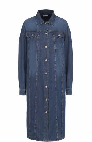Джинсовое платье-рубашка прямого кроя Dries Van Noten. Цвет: голубой