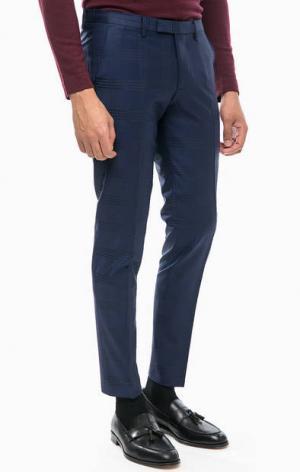 Зауженные брюки в клетку из шерсти Cinque. Цвет: синий