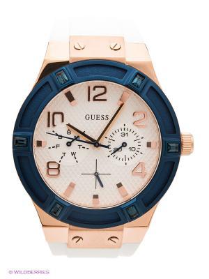 Часы GUESS. Цвет: белый, золотистый, темно-синий