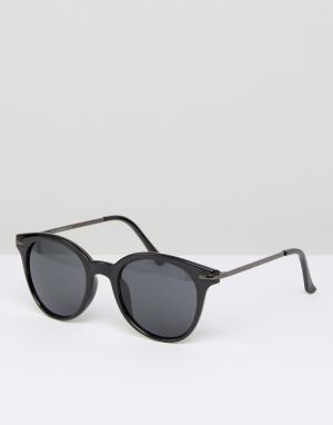 7X Черные круглые солнцезащитные очки. Цвет: черный
