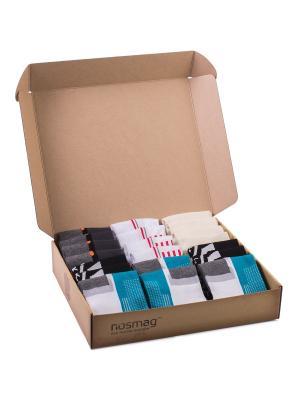 Набор носков Спорт с сургучной печатью, 20 пар NosMag. Цвет: бежевый, белый, бирюзовый, серый, черный