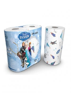 Полотенца кухонные Frozen (Холодное Сердце) 3-х слойные с рисунком, 2 рулона по 80 листов World Cart. Цвет: белый