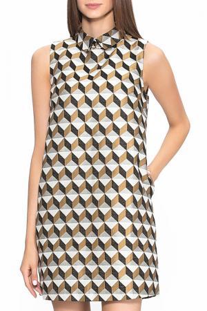 Платье-трапеция с отложным воротником CAVO. Цвет: золотой
