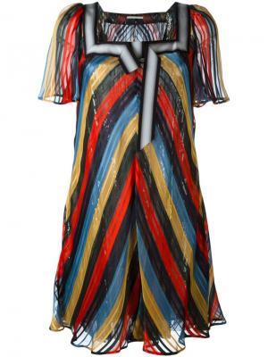 Полосатое платье с пайетками Marco De Vincenzo. Цвет: многоцветный