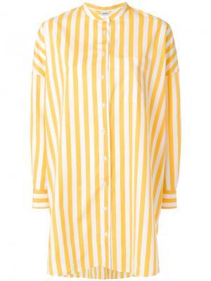 Полосатая рубашка свободного кроя Aspesi. Цвет: жёлтый и оранжевый