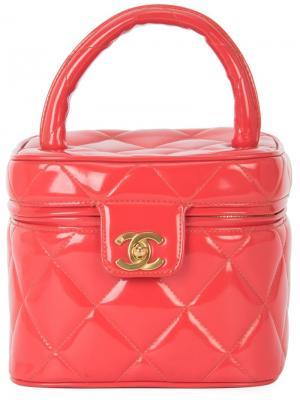 Стеганый чемоданчик для косметики Chanel Vintage. Цвет: красный