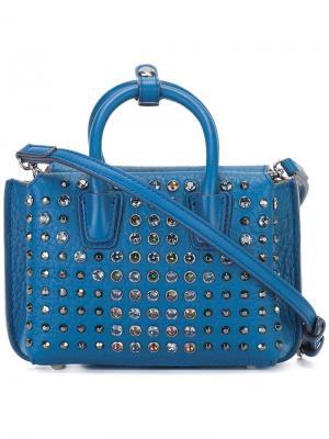 Мини сумка через плечо с заклепками MCM. Цвет: синий