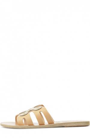 Кожаные шлепанцы Silicon Flower Ancient Greek Sandals. Цвет: бежевый