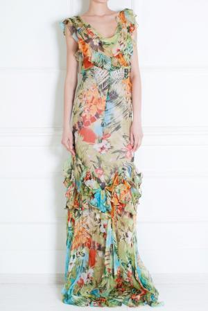 Шелковое платье Duro Olowu. Цвет: зеленый, оранжевый, разноцветный
