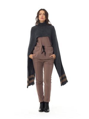 Пончо-шарф WIND SASHYOU. Цвет: антрацитовый, коричневый