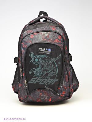 Рюкзак Polar. Цвет: серый, красный, черный