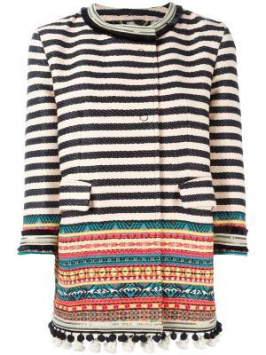 Пальто в полоску Bazar Deluxe. Цвет: телесный