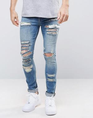 ASOS Голубые рваные супероблегающие джинсы плотностью 12,5 унции. Цвет: синий