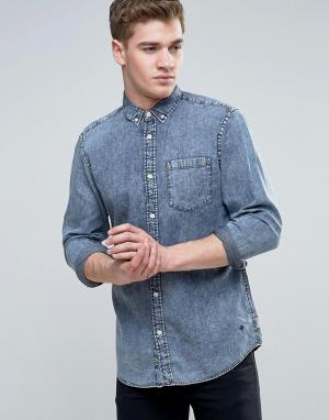Jack & Jones Узкая джинсовая рубашка с эффектом кислотной стирки Origi. Цвет: синий