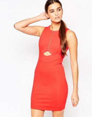Adelyn Rae Платье на молнии спереди с вырезами. Цвет: оранжевый